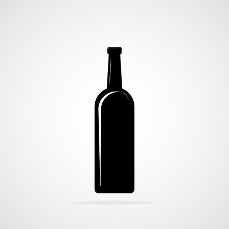 Bottle of wine icon. Vector illustration. Black silhouette of Bottle of wine Illustration