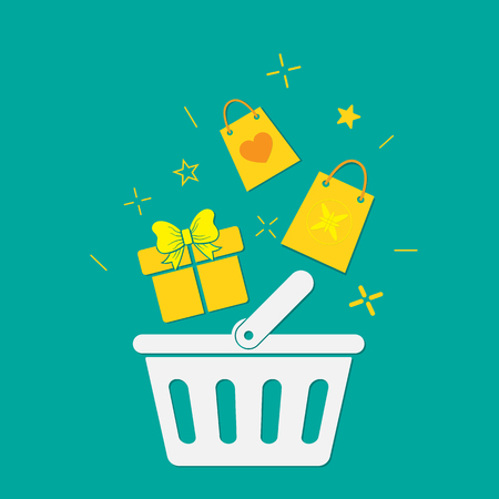 Plastic shopping basket. Vector illustration. Concept of holiday shopping
