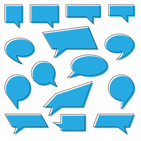 Set of comic Speech Bubbles, isolated. Vector illustration. Collection of speech and thought bubbles in flat style Illustration