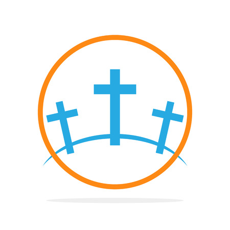 Calvary symbol in the circle. Vector illustration. Colored icon of Golgotha Stock Illustratie