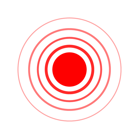 Circle icon. Vector illustration. Touch hand icon. Red of pain symbol