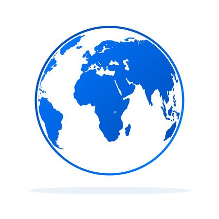 Globe icon in flat style. Vector illustration. Earth symbol isolated Illustration