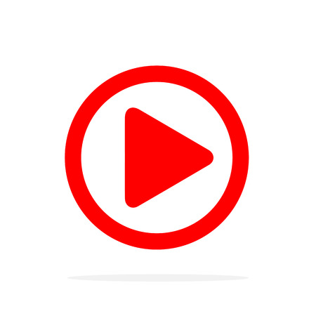 Red Play icon in flat style. Vector illustration. Play button icon, isolated Illustration