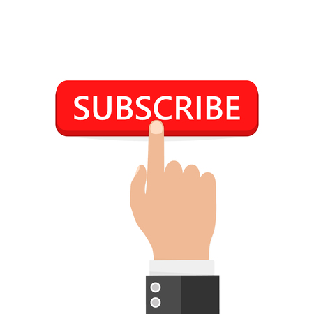 Click the button to subscribe. Vector illustration. Hand presses the subscribe button