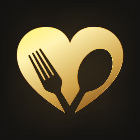 Gold healthy food icon. Vector illustration. Fork and spoon in heart shape Illustration