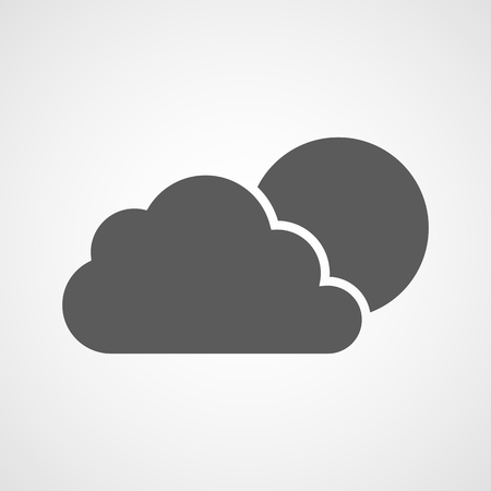 The sun behind a cloud. Vector illustration. Gray weather icon