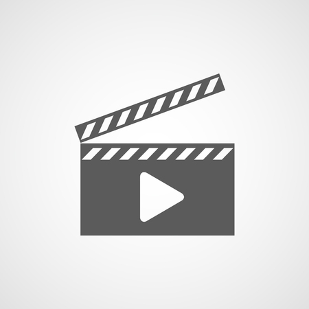 Gray Film icon in flat design. Vector illustration. Movie icon, isolated. Play Video icon