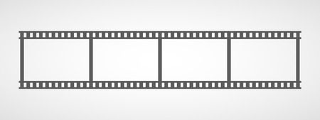 Gray Film frame icon in flat design. Vector illustration. Film strip icon, isolated.