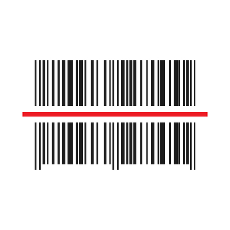 Barcode scanner icon. Vector illustration. Black barcode with red laser light.