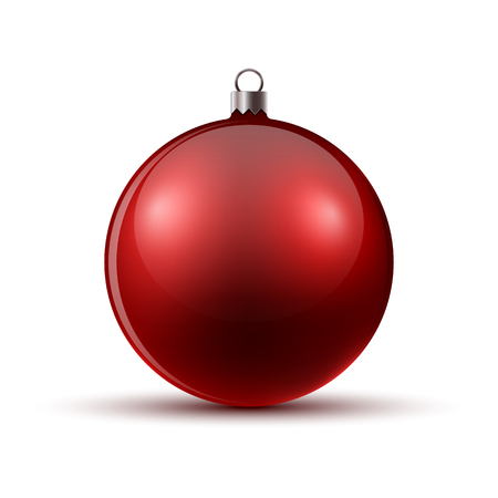 Red Christmas ball, isolated. Vector illustration. Glossy realistic Christmas ball Illustration