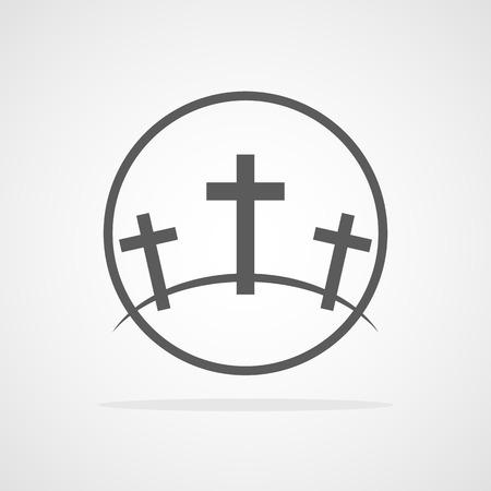 Calvary symbol in the circle. Vector illustration. Gray icon of Golgotha