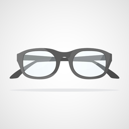 Glasses icon in flat design. Vector illustration. Gray glasses icon, isolated on light background