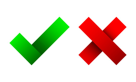 Yes and No check marks. Vector illustration. Red and green check marks on white background. Ilustração Vetorial