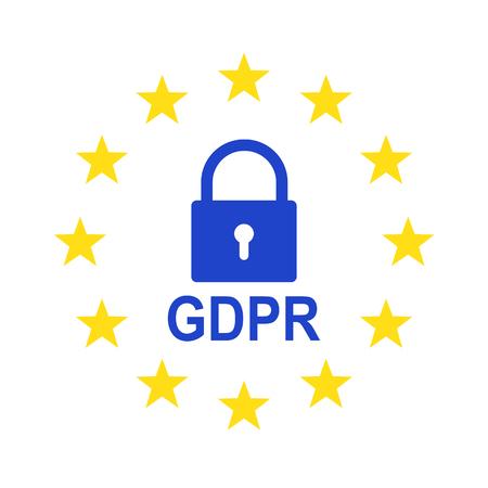 Regolamento generale sulla protezione dei dati (GDPR). Illustrazione vettoriale. Simbolo GDPR isolato