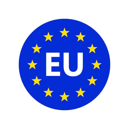 Logo dell'unione europea. Illustrazione vettoriale. Icona della bandiera dell'UE con stelle rotonde