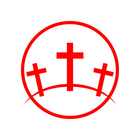 Calvary symbol in the circle. Vector illustration. Red icon of Golgotha