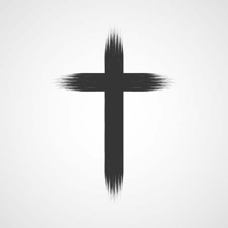 Black drawing of christian cross in doodle cartoon style. Vector illustration. Hand drawn christian cross, isolated.