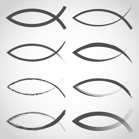 Collection of Christian fish symbols. Vector illustration. Hand drawn Christian religious icon isolated
