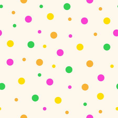 Seamless pattern with colorful circles. Vector illustration. Chaotic pattern with circles in flat style.