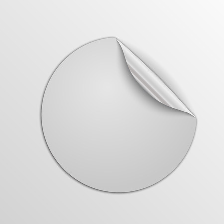 White round sticker isolated. Vector illustration. Paper label with silver corner.
