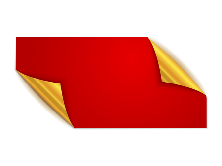 Red square sticker isolated. Vector illustration. Paper label with gold corners.