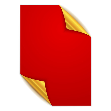 White square page isolated. Vector illustration. Paper page with gold corners.