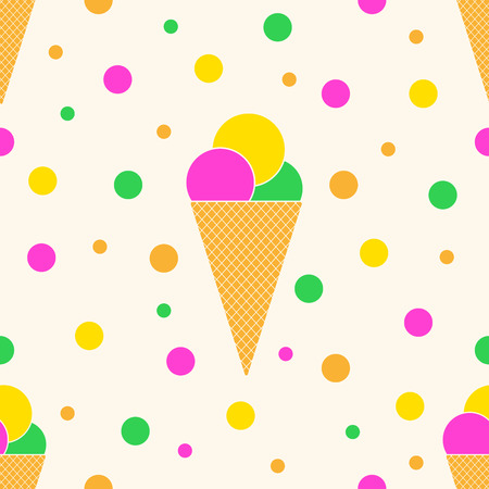 Seamless pattern with colorful ice cream. Vector illustration. Ice cream cones in flat style. 向量圖像