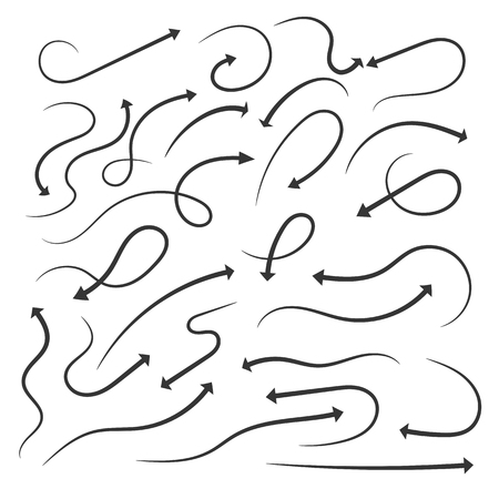 Set of hand drawn arrows. Vector illustration. Grunge sketch of arrows isolated