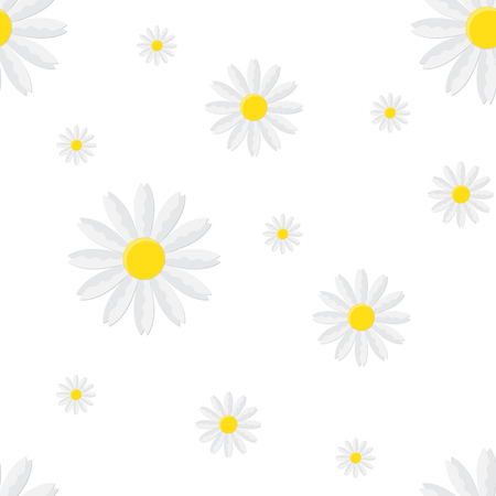 Seamless floral pattern with isolated chamomile. Vector illustration. Cute flower in flat style.