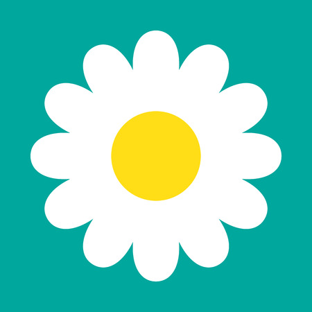 White daisy chamomile icon. Vector illustration. Cute flower in flat style.