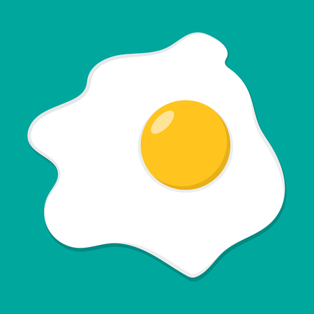 Fried Egg in flat style. Vector illustration. Simple Fried Egg isolated 向量圖像