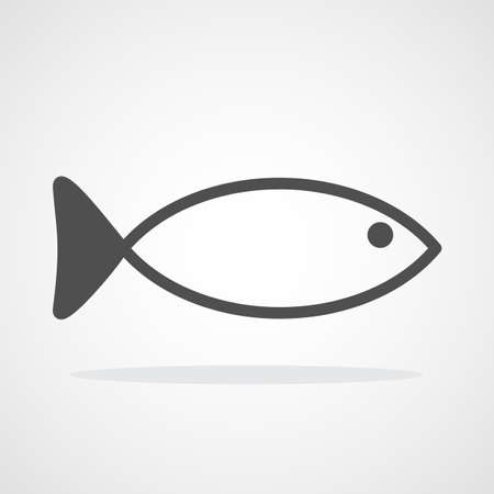 Fish icon isolated. Vector illustration. Gray fish symbol in flat style