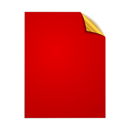 White square page isolated. Vector illustration. Paper page with gold corner.