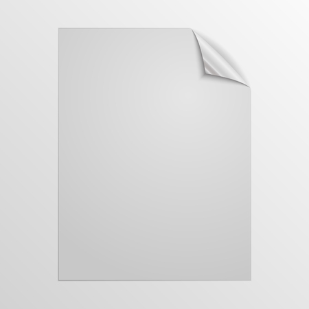 White square page isolated. Vector illustration. Paper page with silver corner. 向量圖像