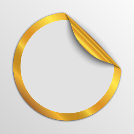 Paper round sticker isolated. Vector illustration. Paper label with gold corner.