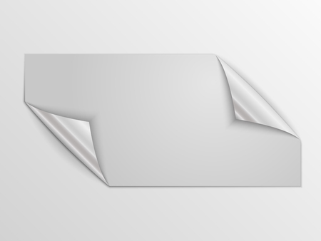 White square sticker isolated. Vector illustration. Paper label with silver corners. 向量圖像