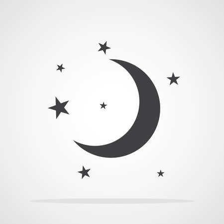 Gray moon and stars icon isolated. Vector illustration. Sleep or dream concept
