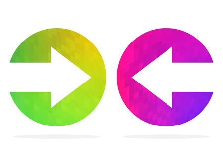 Flèches droite et gauche. Illustration vectorielle. Boutons colorés suivant et arrière. Vecteurs