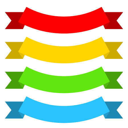 Set of colored ribbons in flat style. Vector illustration. Collection of isolated ribbons 向量圖像