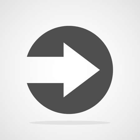 Right arrow icon. Vector illustration. Gray arrow in flat style 向量圖像