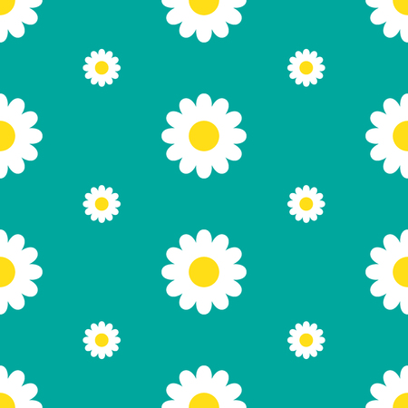 Seamless floral pattern with chamomile. Vector illustration. Cute flower in flat style.