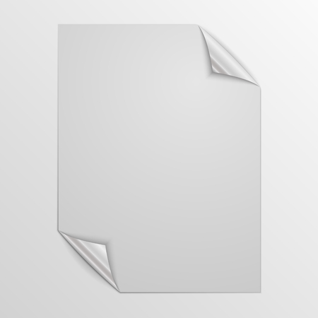 White square page isolated. Vector illustration. Paper page with silver corners.
