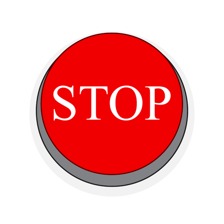 Stop button in flat style. Vector illustration. Red Stop button isolated Illustration