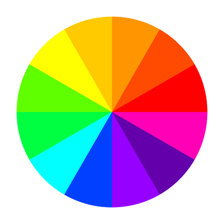 Color wheel in flat design. Vector Illustration. Color wheel isolated