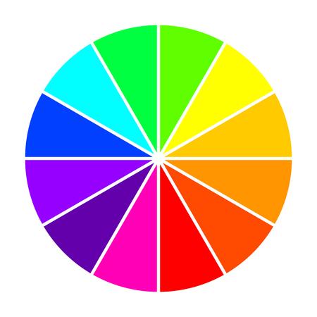 Koło kolorów w płaskiej konstrukcji. Ilustracja wektorowa. Koło kolorów na białym tle