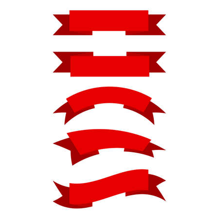 Set of red ribbons in flat style. Vector illustration. Collection of isolated ribbons