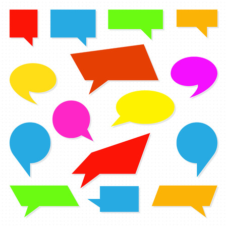 Set of comic Speech Bubbles, isolated. Vector illustration. Collection of speech and thought bubbles in flat style 向量圖像