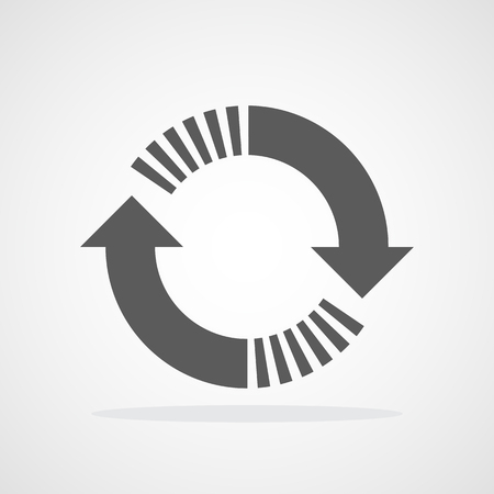 Recycling flat arrow. Vector illustration. Refresh or reload circle arrow isolated. 向量圖像