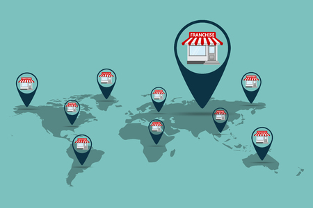 Franchise business concept. Vector illustration. Business marketing system in flat style.