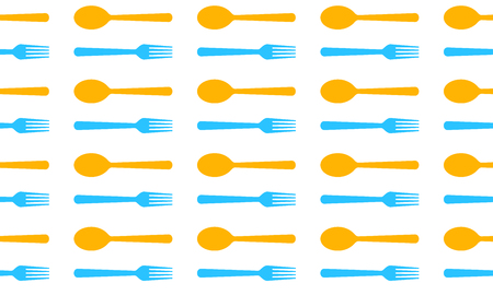Seamless pattern with spoons and forks. Vector illustration. Abstract menu background.